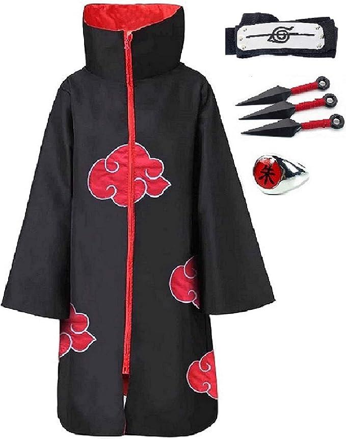 4pcs Unisex Akatsuki Cosplay Costume Halloween Cloak Headband Ring Itachi Uniform Naruto Fans Clothing Amazon Com