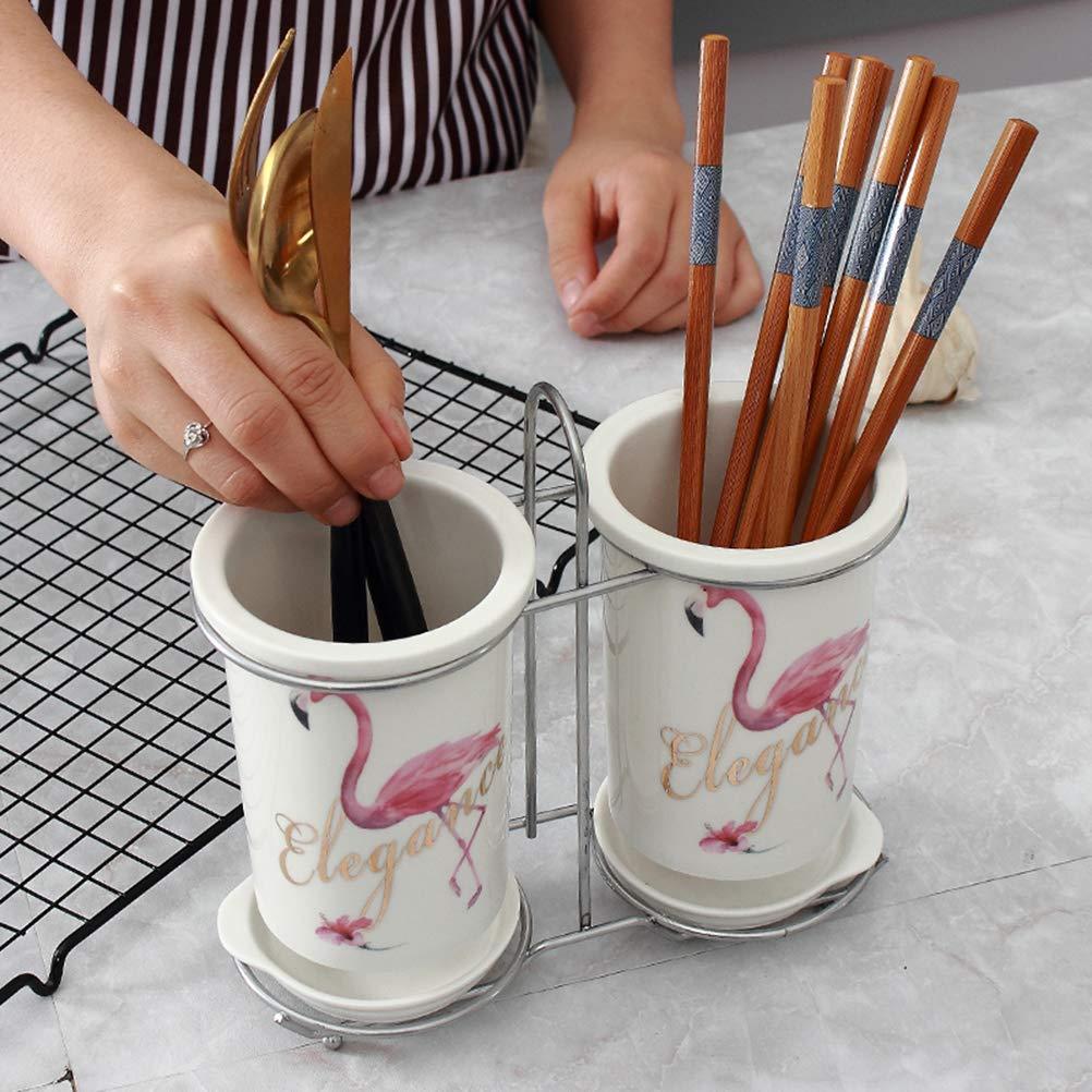 Motivo Fenico TOPBATHY Porta Utensili in Ceramica Divisore Crock Bacchette Organizzatore Caddy per Cucina Spatola Pinze Posate Forchetta Cucchiaio