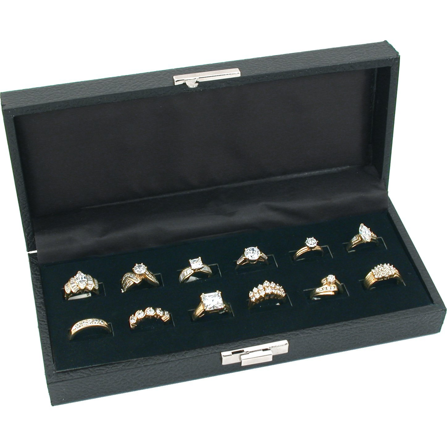 FindingKing 12 Wide Slot Ring Tray Display Jewelry Showcase Black