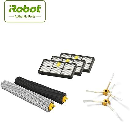 iRobot 4415866 Kit di Ricambi Roomba Serie 800 e 900 Parti Originali, 3 Filtri High Efficiency, 2 Spazzole Laterali, 1 Set in Gomma Multi Superficie,