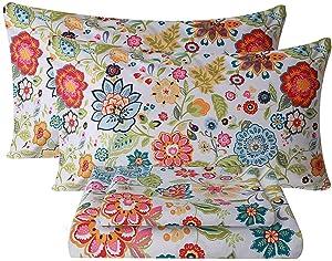 Bedlifes King Sheet Set Floral Sheets Ultra Soft Flower Patterned Printed Bed Sheets Deep Pocket Flat Sheet& Fitted Sheet& Pillowcases 100% Microfiber 4 Piece King Size