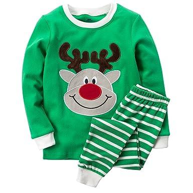 3e105a3b6 B.GKAKA Toddler Boys Pajamas Holiday Happy Reindeer Clothes Sets Size 4