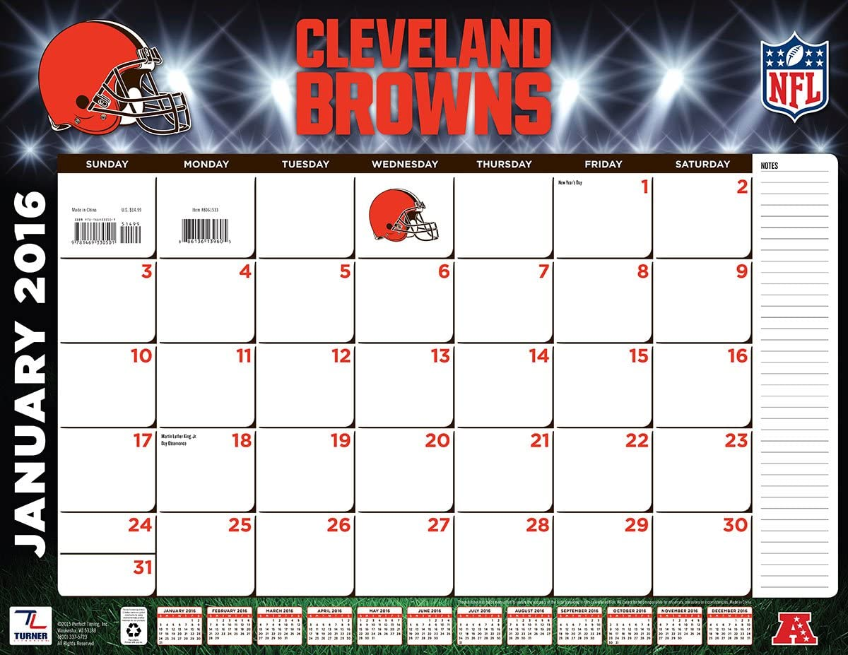 """Turner Cleveland Browns 2016 Desk Calendar, January-December 2016, 22 x 17"""" (8061533)"""