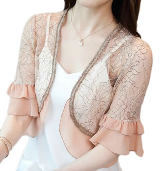 06849c2eb96 ONTBYB Women s Short Sleeve Floral Lace Shrug Bolero Cardigan Top at Amazon  Women s Clothing store
