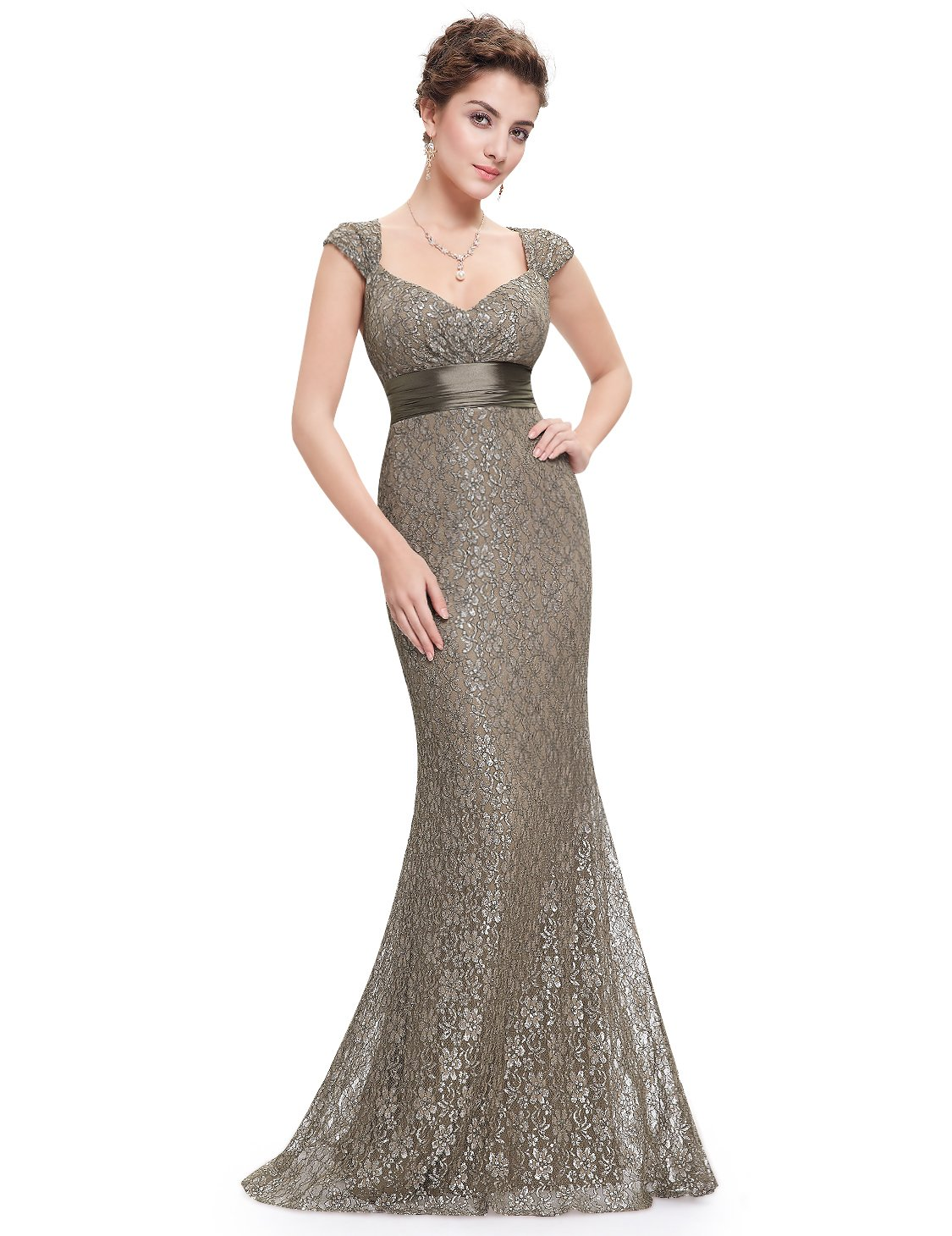 Ever-Pretty Womens Long Fitted Sexy Lace Mermaid Style Prom Dress 8 US Coffee