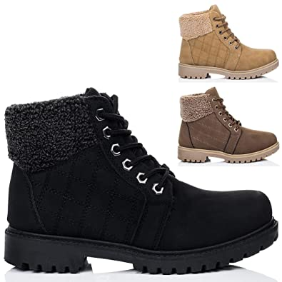 01244dc574e28 Spylovebuy Riley Women s Lace Up Cleated Sole Flat Combat Worker Walking  Ankle Boots Shoes  Amazon.co.uk  Shoes   Bags