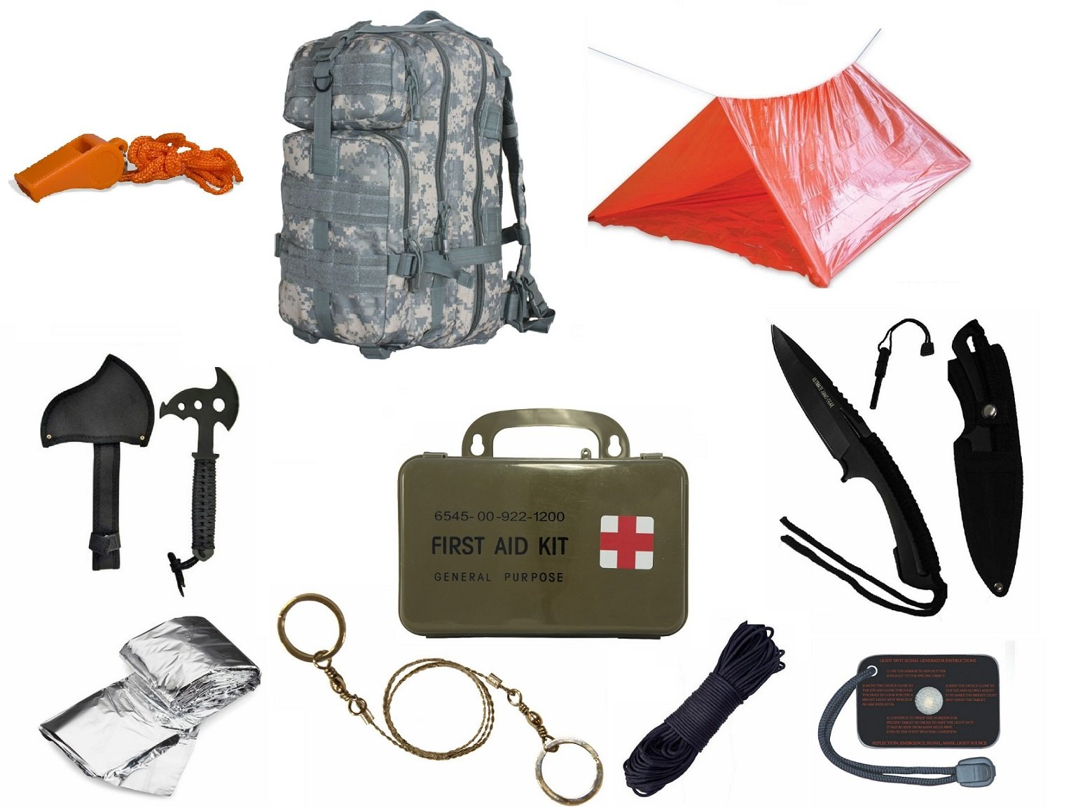 Ultimate Arms Gear Level 3 Assault MOLLE ACU Digital Backpack Kit; Signal Mirror, Polarshield Blanket, Knife Fire Starter, Wire Saw, Axe, 50' Foot Paracord, Camping Tube Tent, Whistle & First Aid Kit
