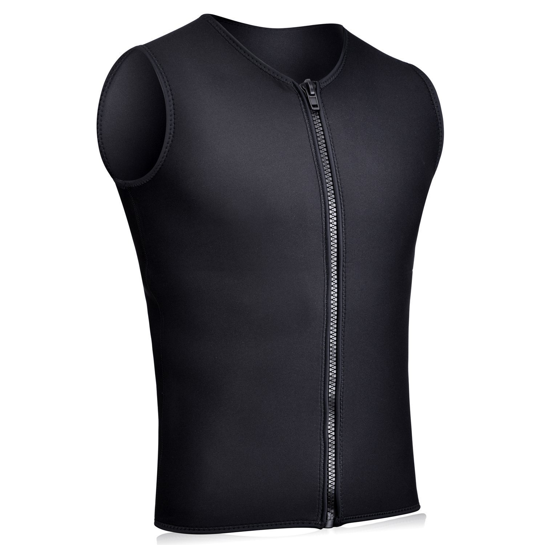 Realon Wetsuits Vest Mens Top Premium Shirt Neoprene 3mm Sleeveless Front Zipper Sports XSPAN for Scuba Diving Surfing Swim Snorkel Suit (Black, XXXL)