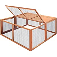 Petscene Chicken Coop Foldable Wood Rabbit Hutch Hen Poultry House Cage 108x116x51cm