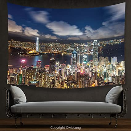 House Decor Tapestry Cityscape Night View Hong Kong Victoria Harbor Business Financial District Cityscape Print Decor & Amazon.com: House Decor Tapestry Cityscape Night View Hong Kong ...