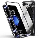 Funda para iPhone 8 Plus/7 Plus, ZHIKE Funda de Adsorción Magnética Súper Delgada Marco de Metal de Vidrio Templado con Cubierta Magnética Incorporada para Apple iPhone 7 Plus/8 Plus (Negro Claro)