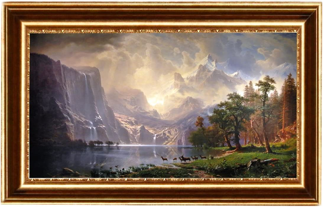 Between the Sierra Nevada Mountains by Albert Bierstadt Giclee Repro on Canvas