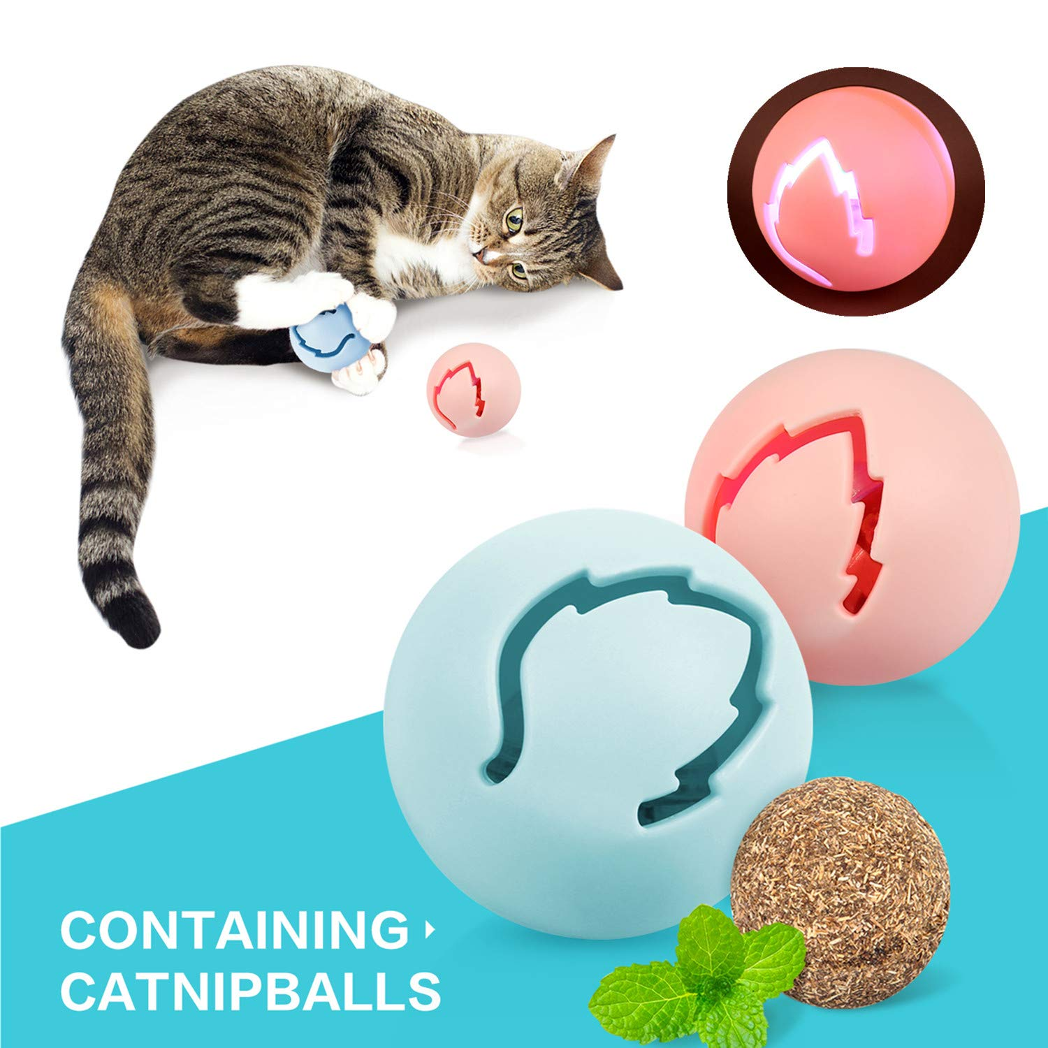 Pecute Cat Toy 360° Space Spinning Ball Toy Equipped with Bell Dazzle Ball, Cat Mint Ball