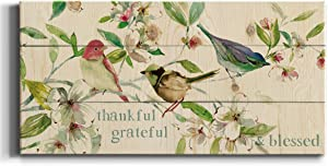 Neutral Color Wall Art, Wall Décor Canvas, Beaches, Floral, Animals, Southwestern, & Vintage Styles, Ready to Hang -Grateful Thankful Blessed Birds 20X40