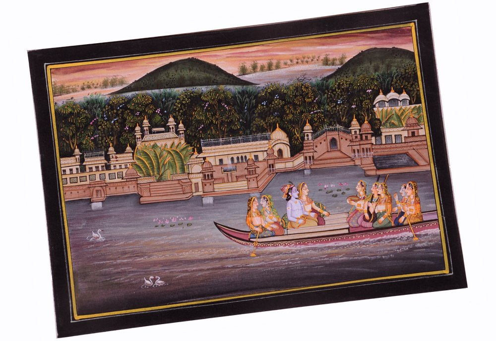 Krishna Radha Painting : Indian Hindu Religious God Goddess Lively to Decor Your Home Hotel Office Bedroom Lobby or Living Room by Handmade (Image #2)