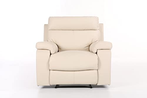Halter Bonded Sofa Modern Lounge Chair-White Leather Recliner