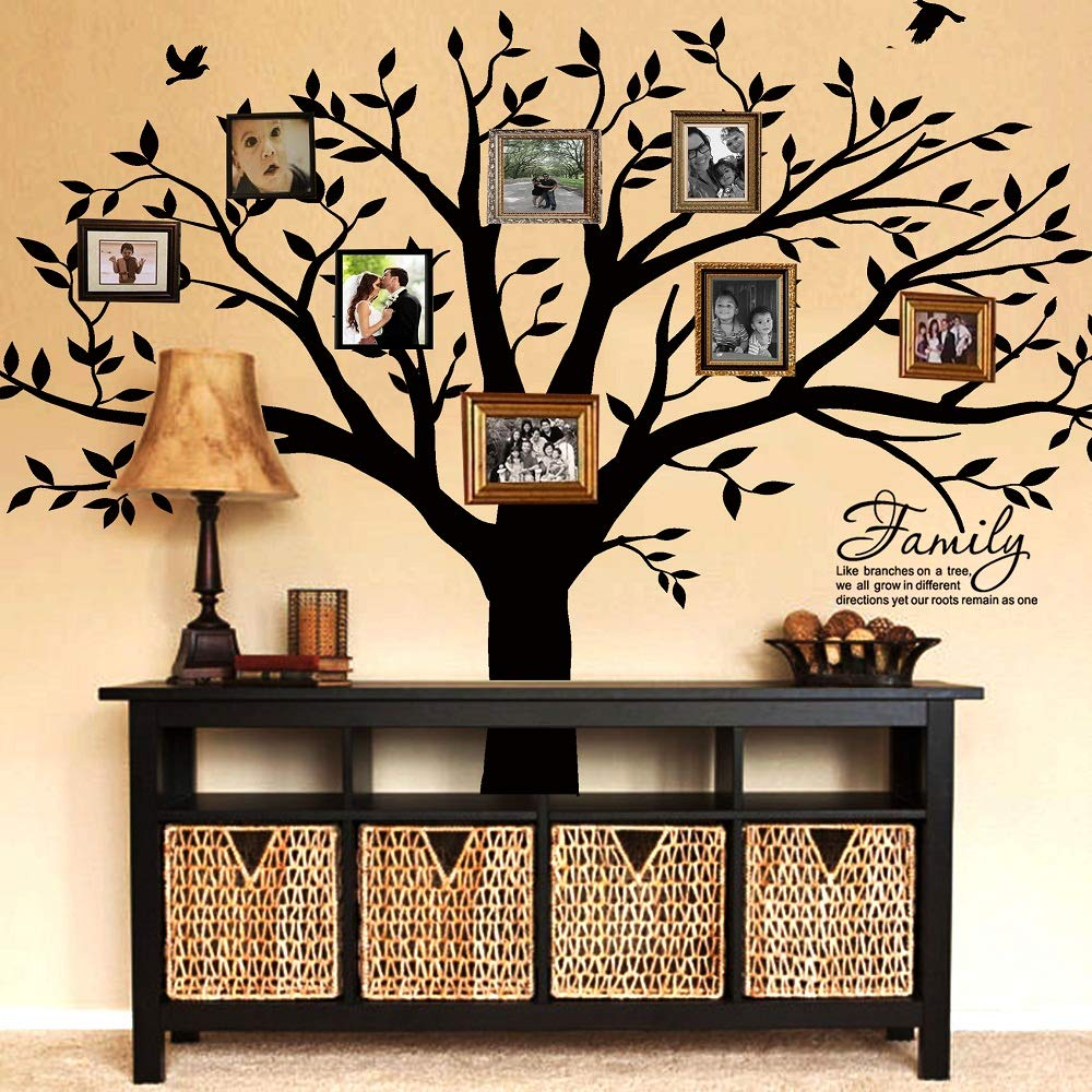 LUCKKYY Grant Family Tree Wall Decal with Family Like Branches on a Tree Quote Wall Decal Tree Wall Sticker (83'' Wide x 83'' high) (Black) by LUCKKYY (Image #4)