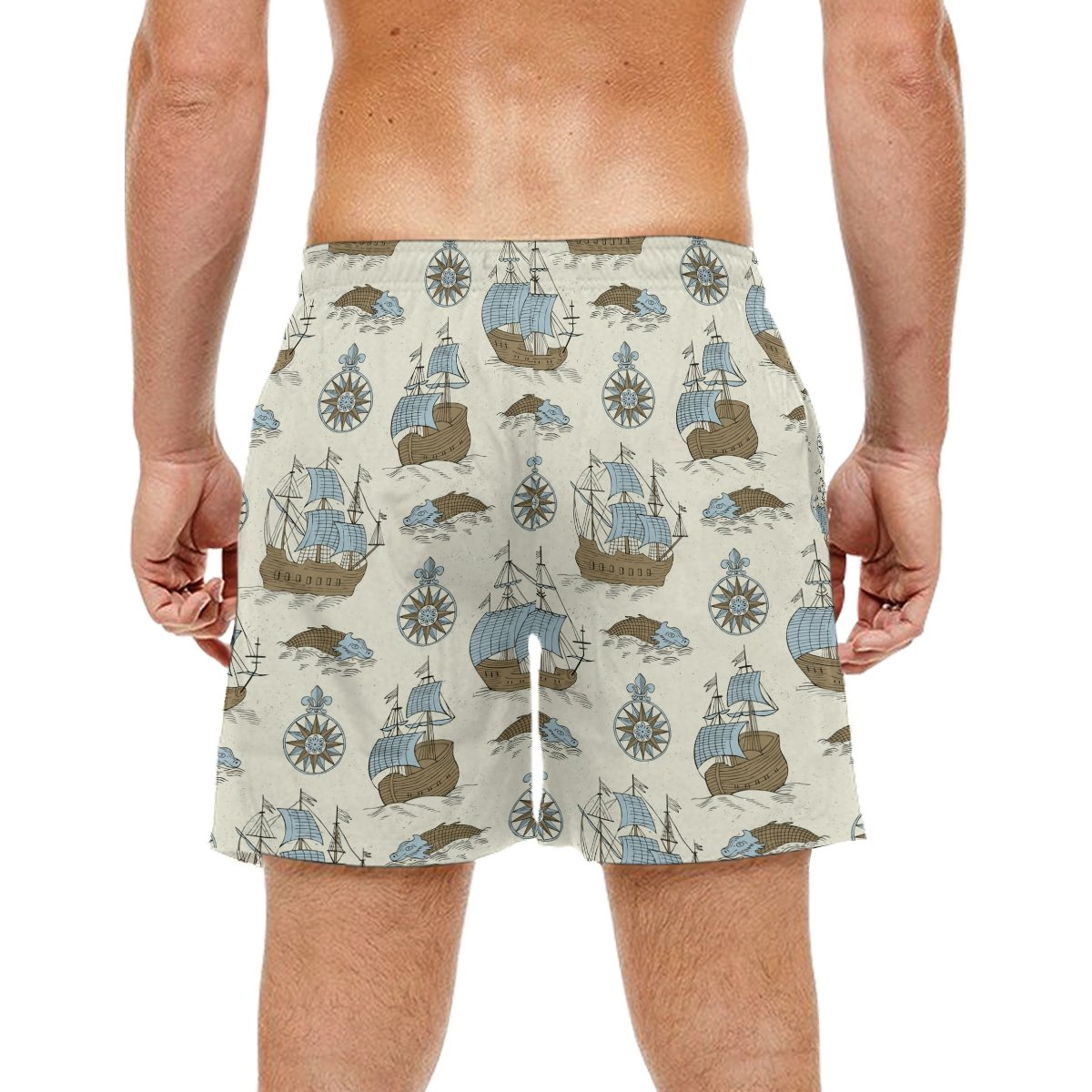 KEAKIA Mens Ship Retro Background Beach Board Shorts Quick Dry Swim Trunk