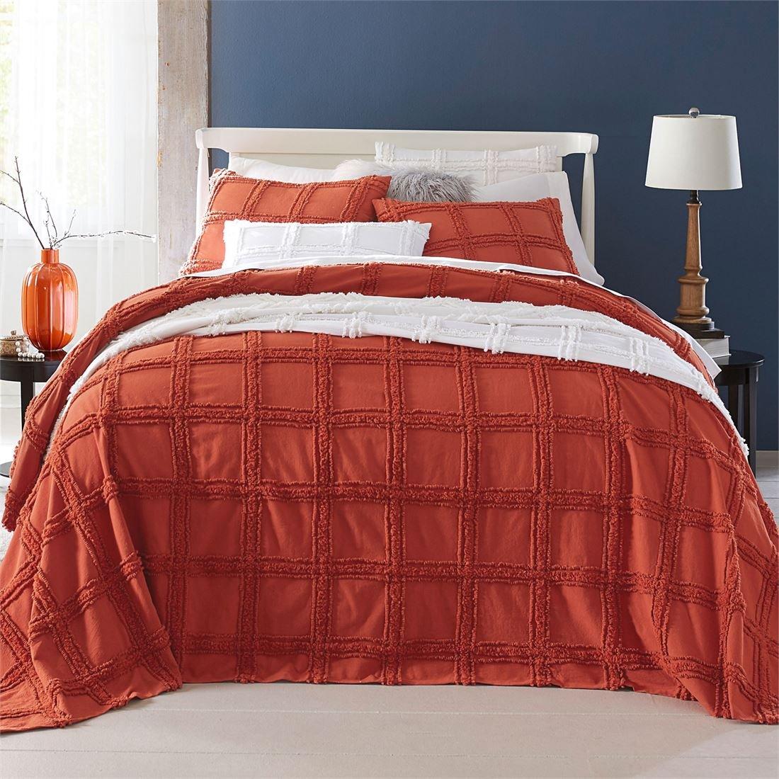 BrylaneHome Window Pane Chenille Bedspread (Terracotta,Full)