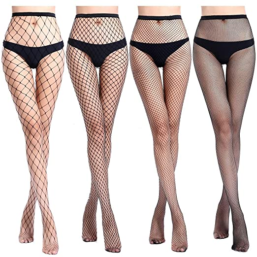 fbadf15f7f053e 4 Pairs Women's High Waist Tights Fishnet Stockings Thigh High Stockings  Pantyhose Lace Stockings (black