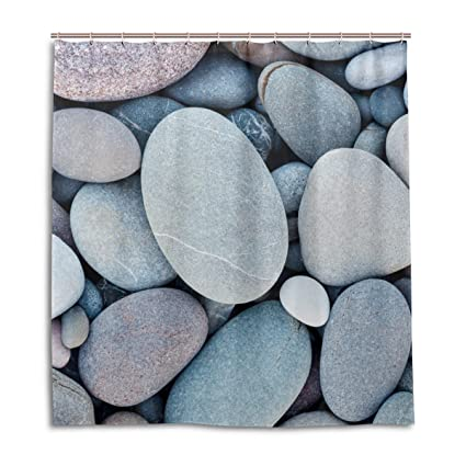 Amazon ALAZA Abstract Sea Beach Pebbles Shower Curtain Custom