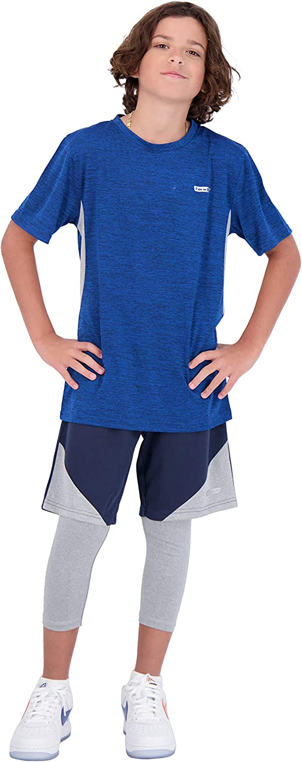 Hind Boys 3-Piece Athletic Short Set for Kids Basketball Shorts Athletic T-Shirt and Leggings for Sports and Training: Clothing