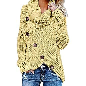 iHENGH Damen Herbst Winter Übergangs Warm Bequem Slim Lässig Stilvoll Frauen Langarm Solid Sweatshirt Pullover Tops Bluse Shi
