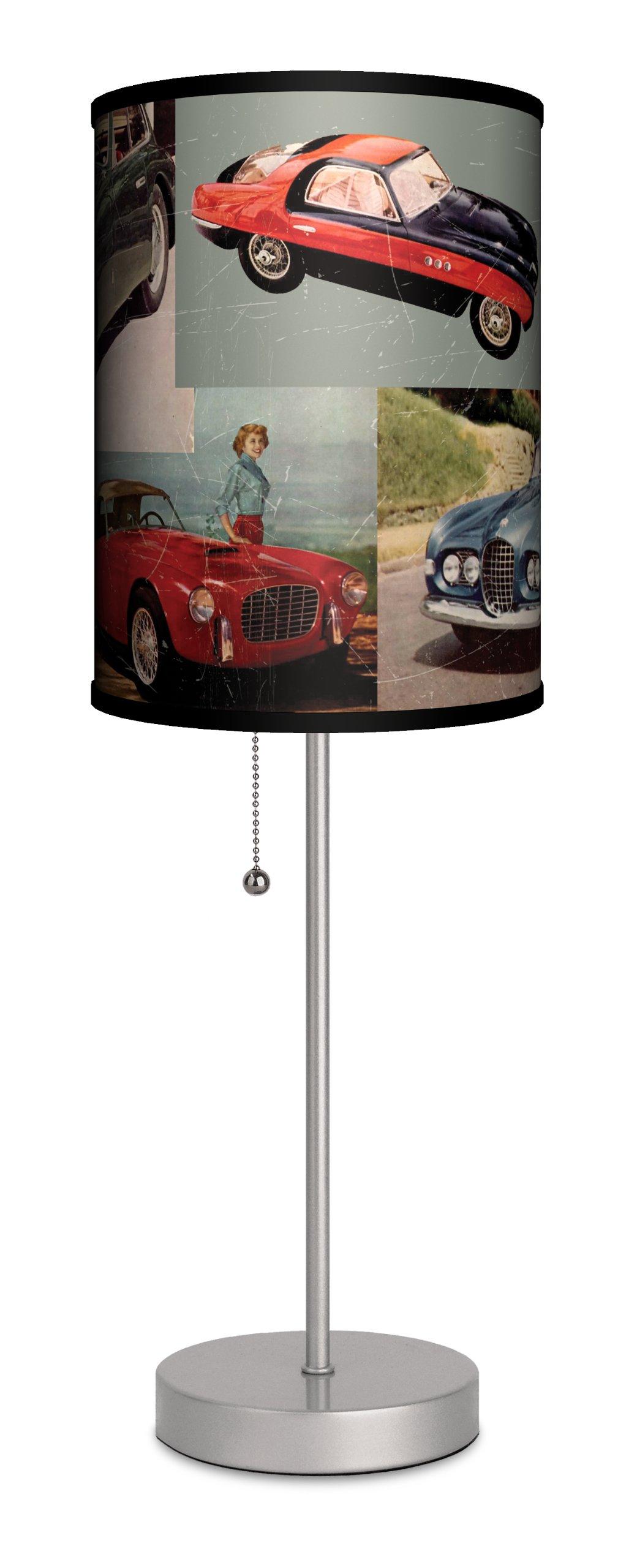 Lamp-In-A-Box SPS-TTN-VSPOR Transportation Vintage Sports Cars Sport Lamp, 7'' x 7'' x 20'', Silver
