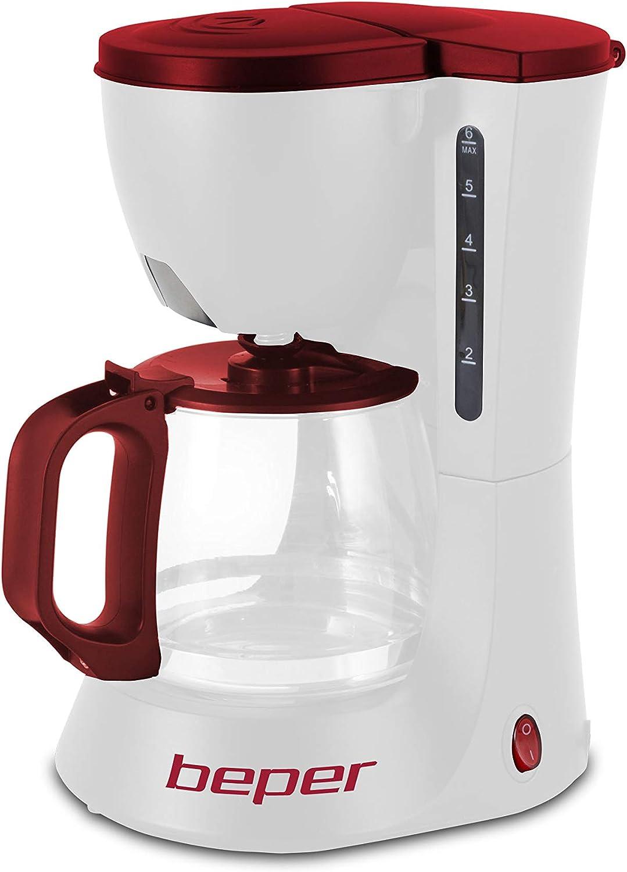 Beper 90.395H/RED Cafetera de Goteo, 600 W, Plástico, Blanco y rojo: Amazon.es: Hogar