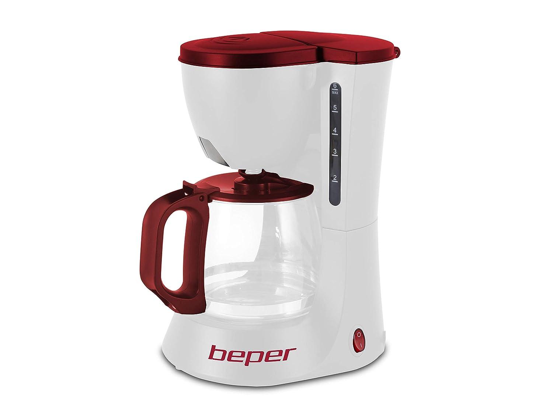 Beper 90.395H/RED Cafetera de Goteo, 600 W, Plástico, Blanco y ...