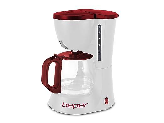 Beper 90.395H/RED Cafetera de Goteo, 600 W, Plástico, Blanco y rojo.