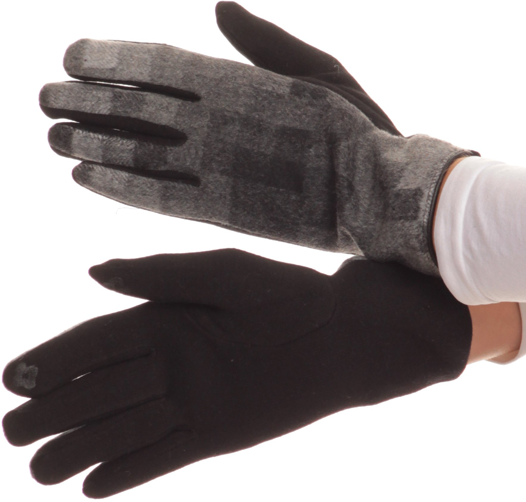 Sakkas 16168 - Kade Pixel Ombre Multi Colored Patterned Warm Touch Screen Winter Gloves - Black - S/M