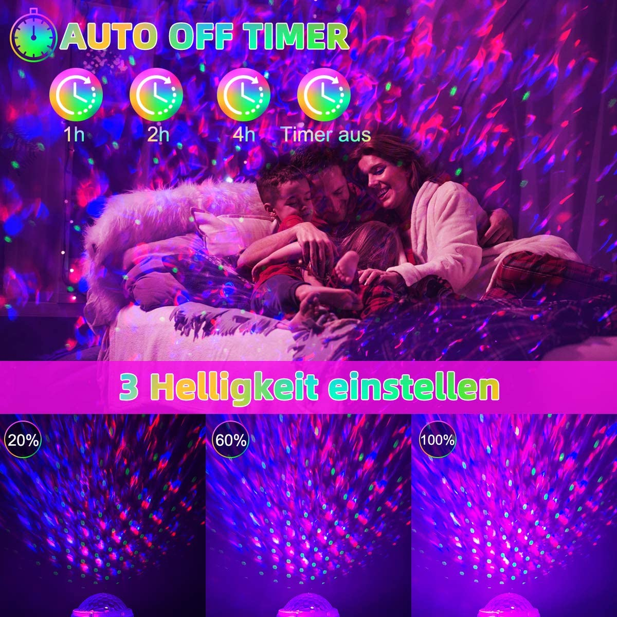 Lampada Proiettore Stelle sala da ballo riunione timer e 8 suoni rilassanti della natura per festa di compleanno onde dacqua luci notturne lampada a stella con musica altoparlante bluetooth