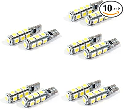 10 x Canbus T10 194 168 W5W LED Wedge Light Bulbs License Plate Warm White 4000K