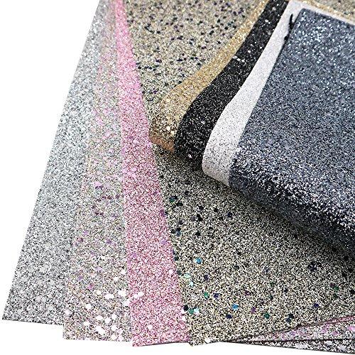 Super Shiny Glitter Sequins Fabric 8 pcs 8 x 13 (20cm x 34cm) Thick Canvas Back Craft DIY Craft Assorted Colours (Assort A)
