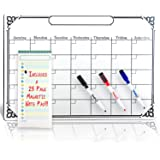 Smart Planner's RIGID Magnetic Calendar for Refrigerator White Board | Perfect for Wall Hanging | Great as a Kitchen Fridge Dry Erase Family Board Planner | Free Whiteboard Magnet Markers Included