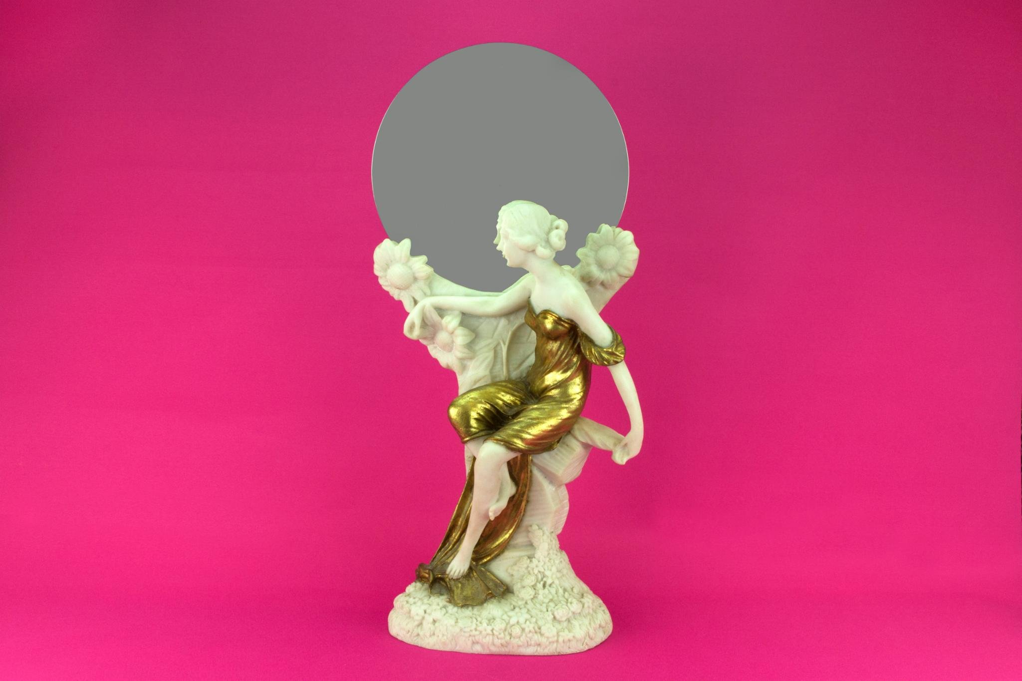 Table Mirror Art Nouveau Style Carved Girl Lady Sculpture Figure Gilded Resin Vintage Continental European Late 20th Century