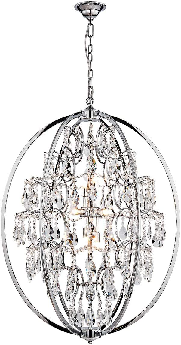 ANJIADENGSHI Modern Globe Crystal Chandeliers 9-Light Chandelier Lighting Metal Globe Pendant Lighting Fixture with Adjustable Hanging Light Fixture for Dining Living Room Foyer Bedroom Chrome