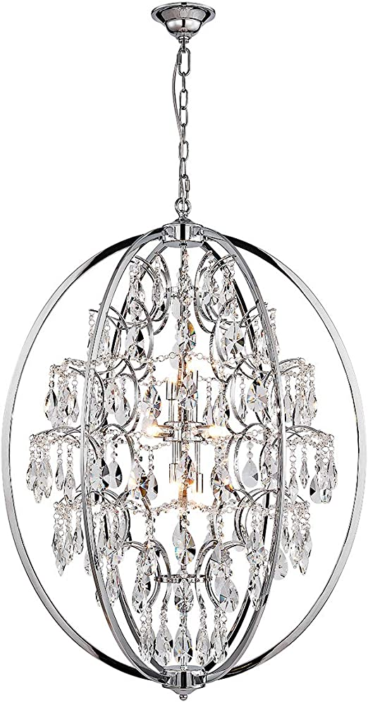 ANJIADENGSHI Modern Globe Crystal Chandeliers 9 G9 Chandelier Lighting Crystal with Adjustable Hanging Light Fixture for Dining Living Room Foyer Bedroom,Chrome(Bulbs Not Included)