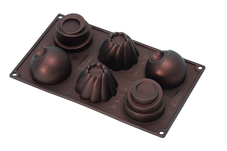Pavoni FR061 Platinum Silicone Home Edition Pavoflex-Round Cups Multi-Tray Bake Mould, Metallic Brown