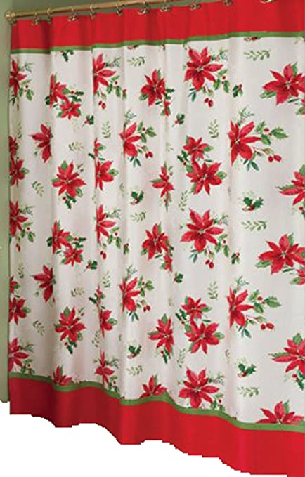 Image Unavailable Not Available For Color Lenox Winter Meadow Christmas Poinsettia Fabric Shower Curtain
