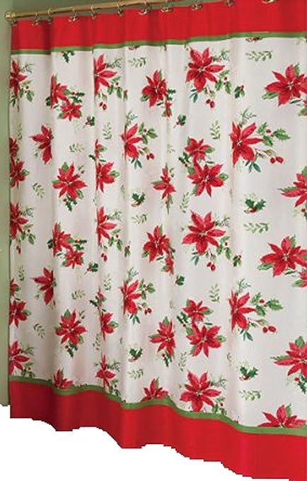 Lenox Winter Meadow Christmas Poinsettia Fabric Shower Curtain