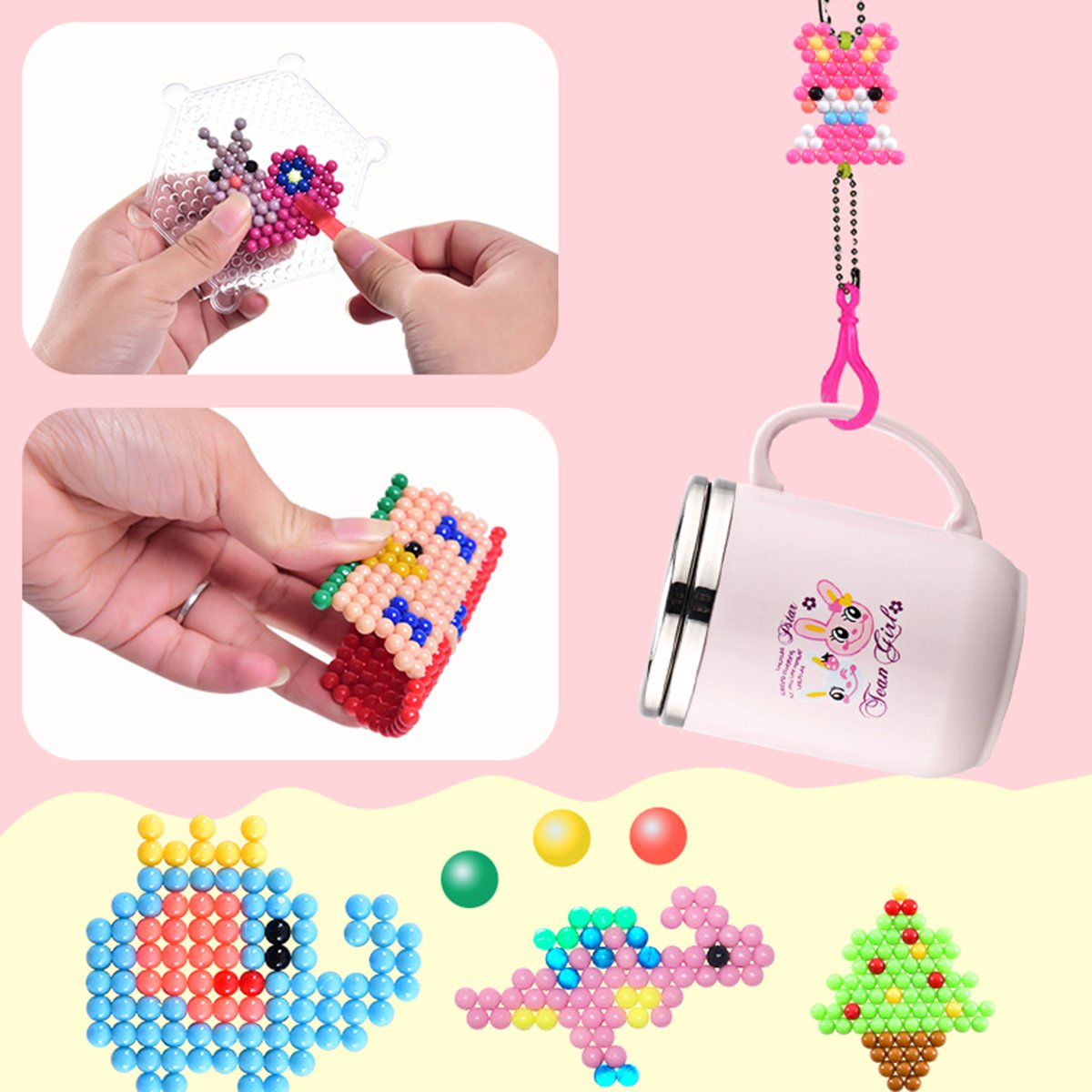 Aqua water beads Beginners Studio perler fusion Craft beads Art Crafts toys for kids non toxic with bead palette, layout table, bead pen, bead peeler, sprayer, template sheets -15 colors(2400pcs) by QIAONIUNIU (Image #7)