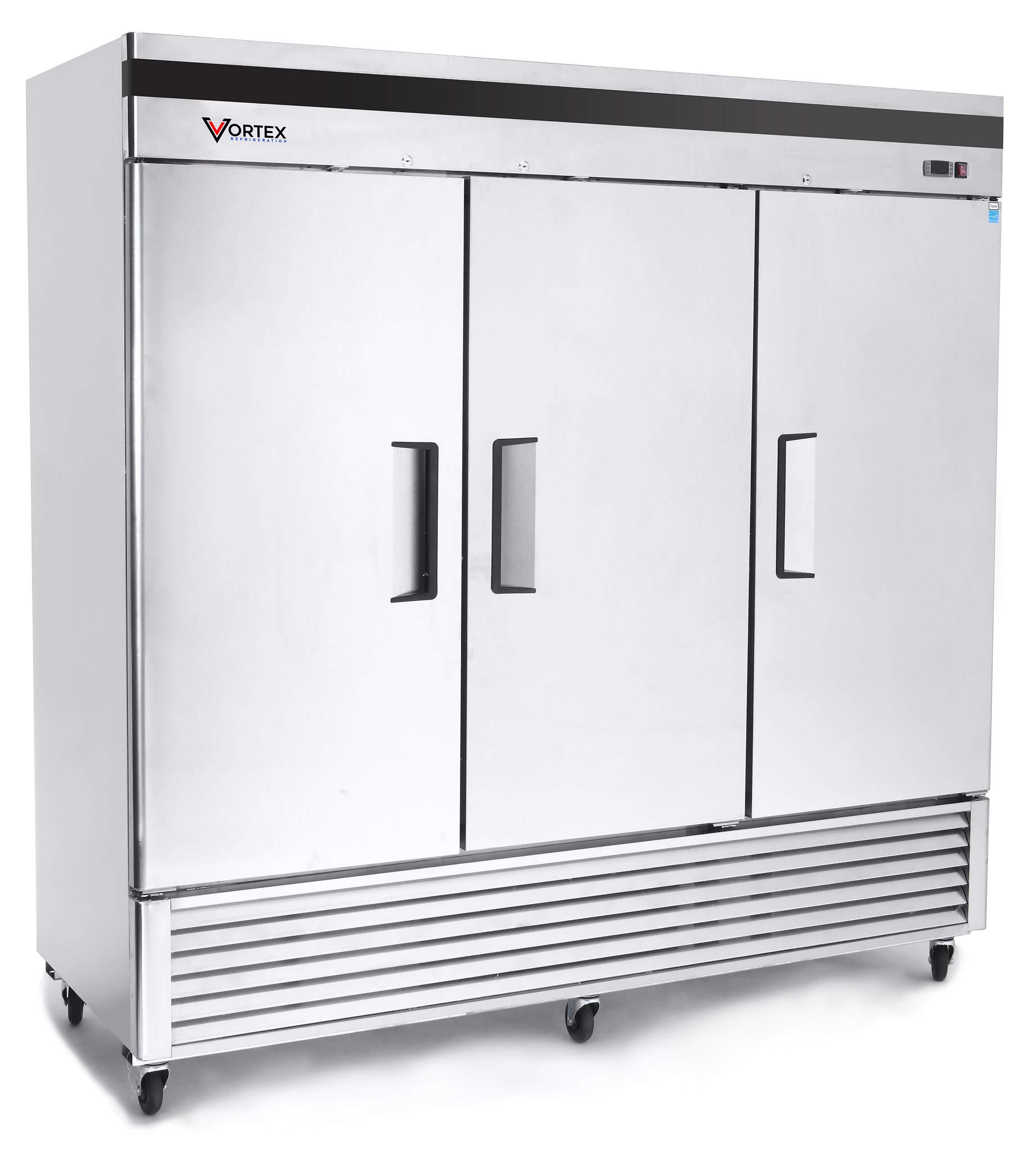 Vortex Refrigeration Refrigerator 3 Solid Door Commercial Stainless Steel- 72 Cu. Ft. ... by Vortex Refrigeration