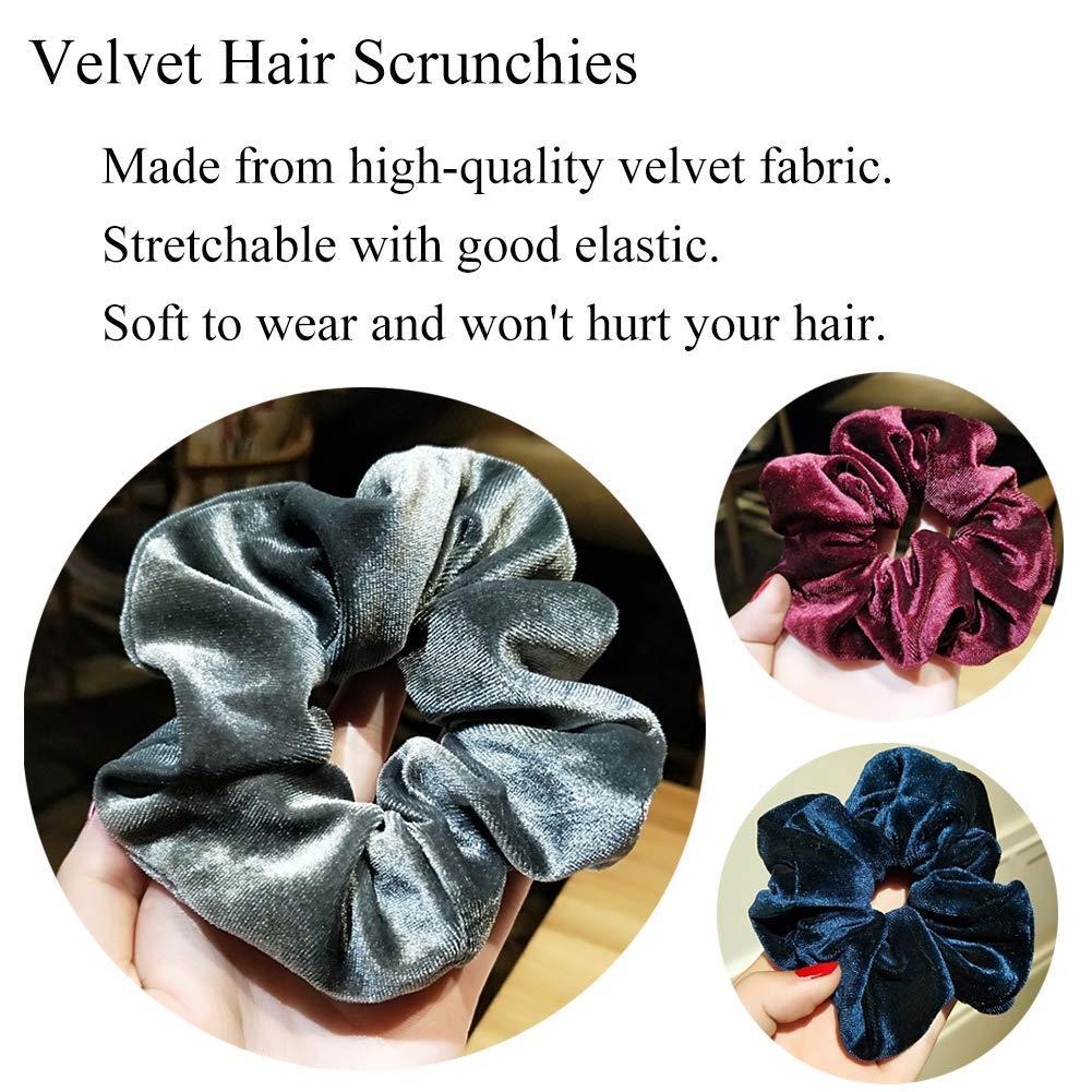 Red Navy Blue Soft VELVET Hair Scrunchie Elastic School Elasticated Gym Scrunchy
