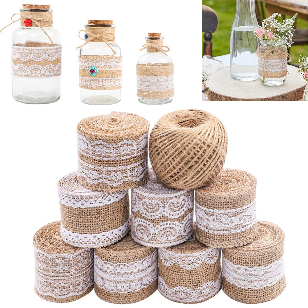 SGHUO 8Pcs Burlap Ribbon Lace Roll with 164 Feet Jute Twine 17.5 Yards/630 inches Wired Burlap Ribbon for Wedding Decorations DIY Handmade Crafts