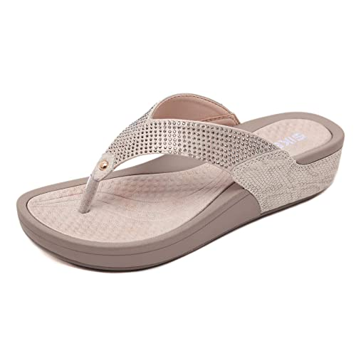 f546d025069d Amazon.com  LUXINYU Women Flip Flop Sandals - Wedge Heel Beach ...
