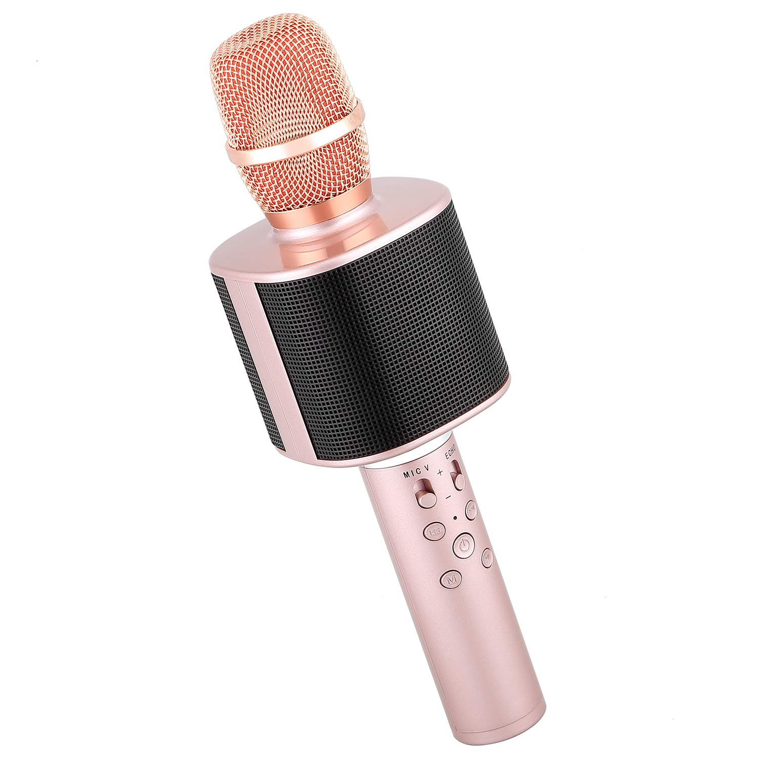 Mbuynow Wireless Bluetooth Karaoke Microphone with Phone Holder, Portable Karaoke Machine Speaker Home Party Birthday for Android/iPhone/iPad/Sony/PC (Rose Gold) by Mbuynow