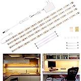 Wobane Under Cabinet Lighting Kit,Flexible LED Strip Lights Bar,Under Counter Lights for Kitchen,Cupboard,Desk,Monitor Back,S
