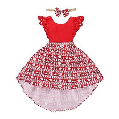 7a1a1ffee0da5 LMMVP Bébé LianMengMVP Ensembles de Robe de Noël Enfants Filles Coeur  d amour imprimé Robe